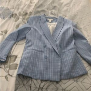 Baby blue grid blazer never been worn size 8